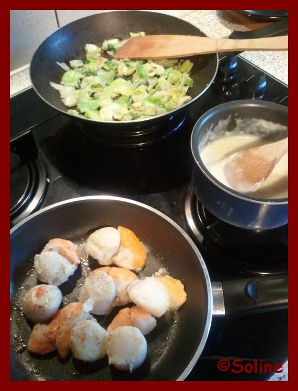 Soline cuisine cassolettes de saint jacques sur lit de - Cassolette de saint jacques sur lit de poireaux ...